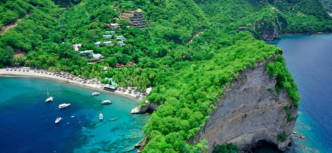 Aerial shot of Jade Mountain