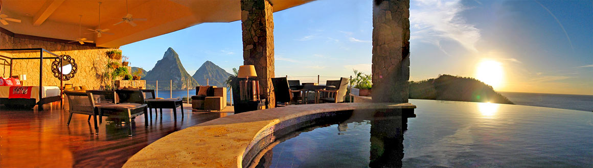 Panorama of Jade Mountain room with Piton view at sunset