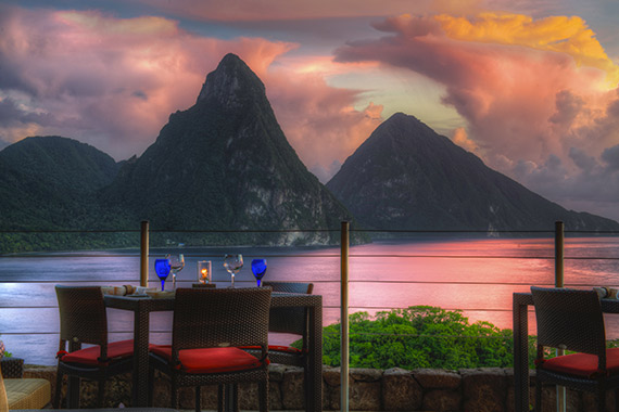 Couples dinner table at Jade Mountain