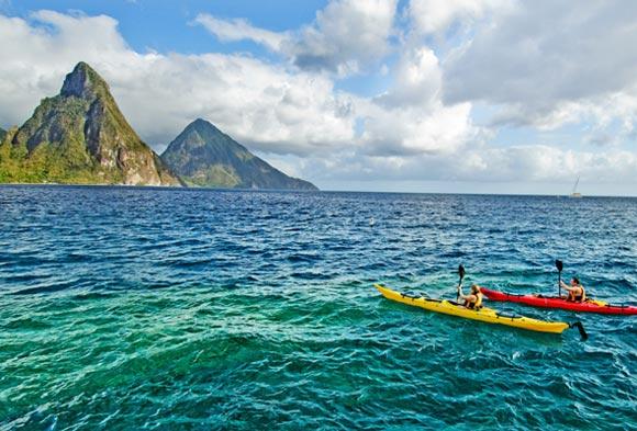 Kayaking at Jade Mountain