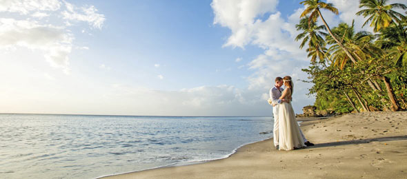 Wedding Couple on Anse Mamin Beach