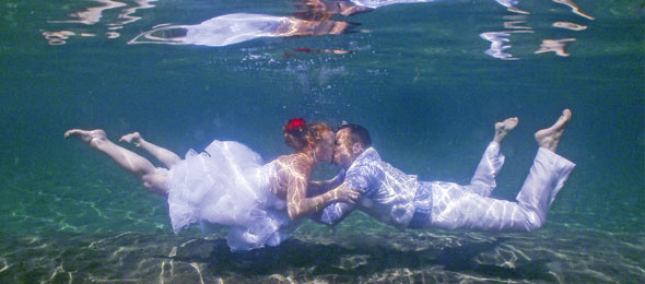 Wedding Couple under water