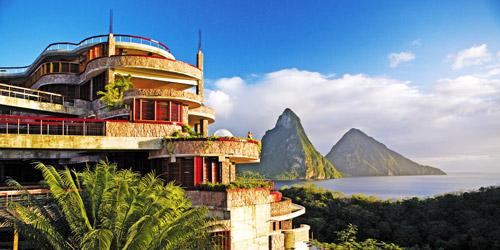 Jade Mountain Exterior with Piton view