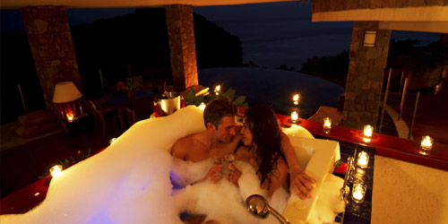 Couple in Tub at Jade Mountain