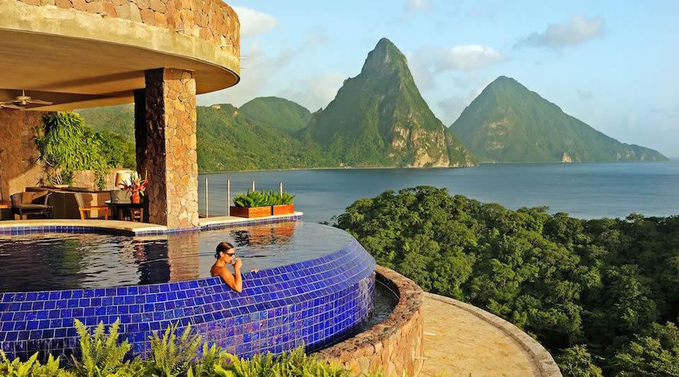 Relaxing in Jade Mountain Sanctuary Pool