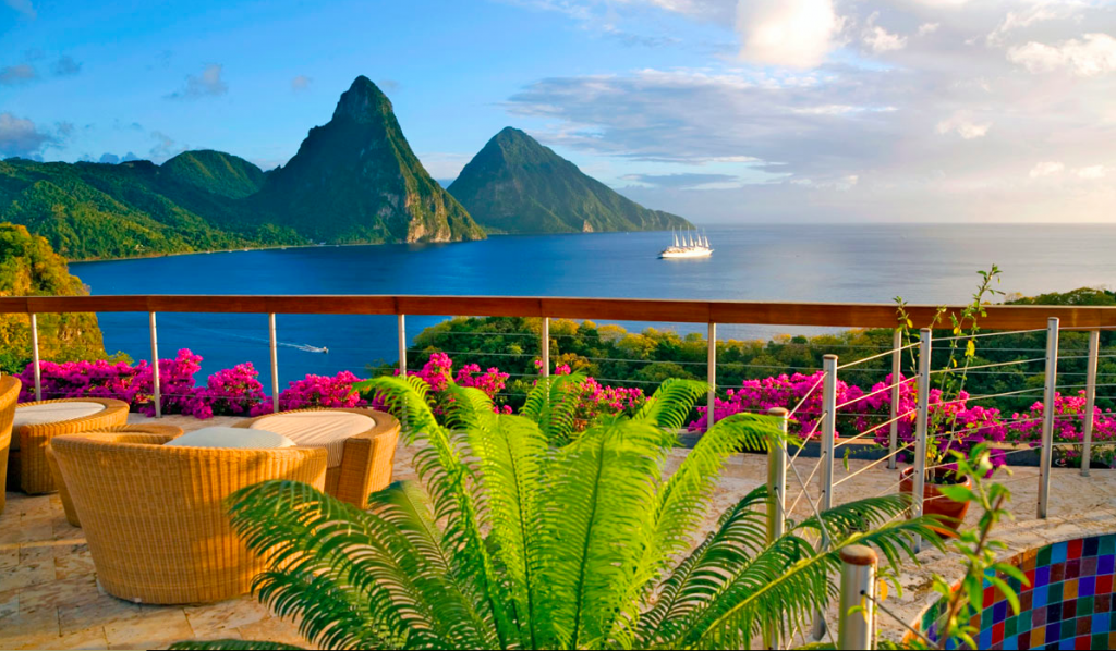 Celestial Terrace Piton view at Jade Mountain in St Lucia