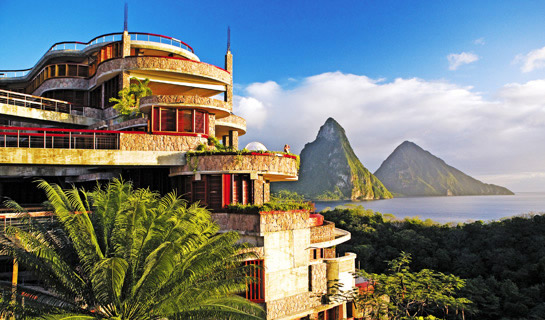 Exterior view of jade mountain with pitons