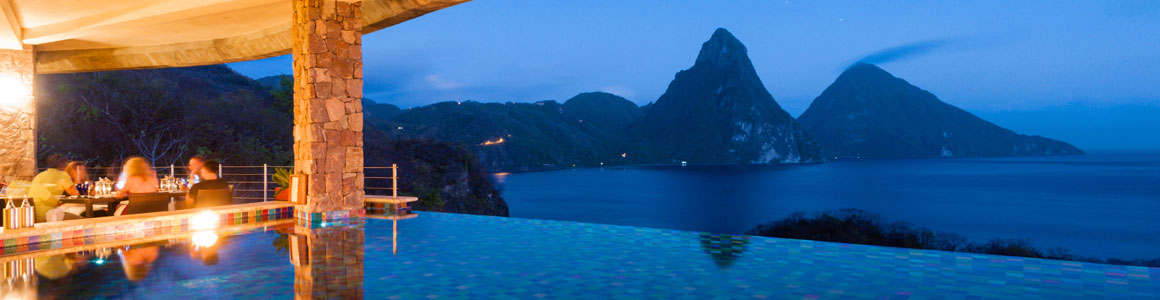 Jade Mountain Club at Night
